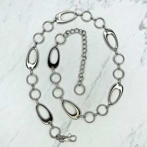 Silver Tone Open Oval Circle Belly Body Chain Belt